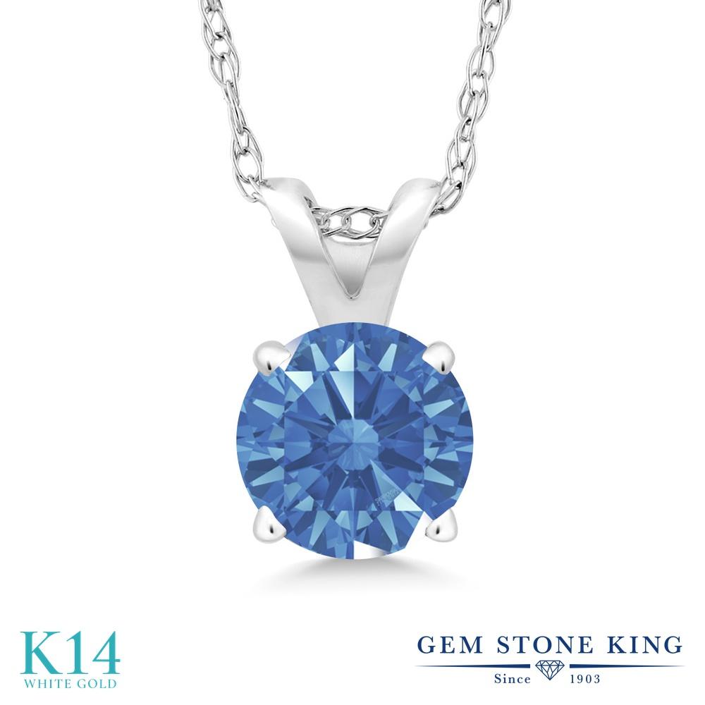 Gem Stone King スワロフスキージルコニア (ファンシーブルー) 14金 ホワイトゴールド(K14) ネックレス ペンダント レディース CZ 一粒 シンプル 金属アレルギー対応 誕生日プレゼント