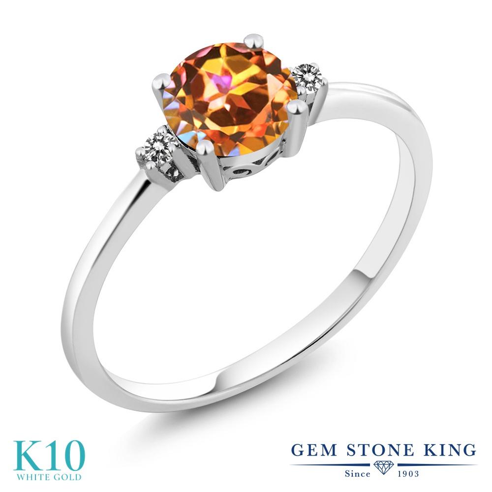 【10%OFF】 Gem Stone King 1.03カラット 天然石 エクスタシーミスティックトパーズ 天然 ダイヤモンド 指輪 リング レディース 10金 ホワイトゴールド K10 大粒 一粒 シンプル ソリティア 婚約指輪 エンゲージリング