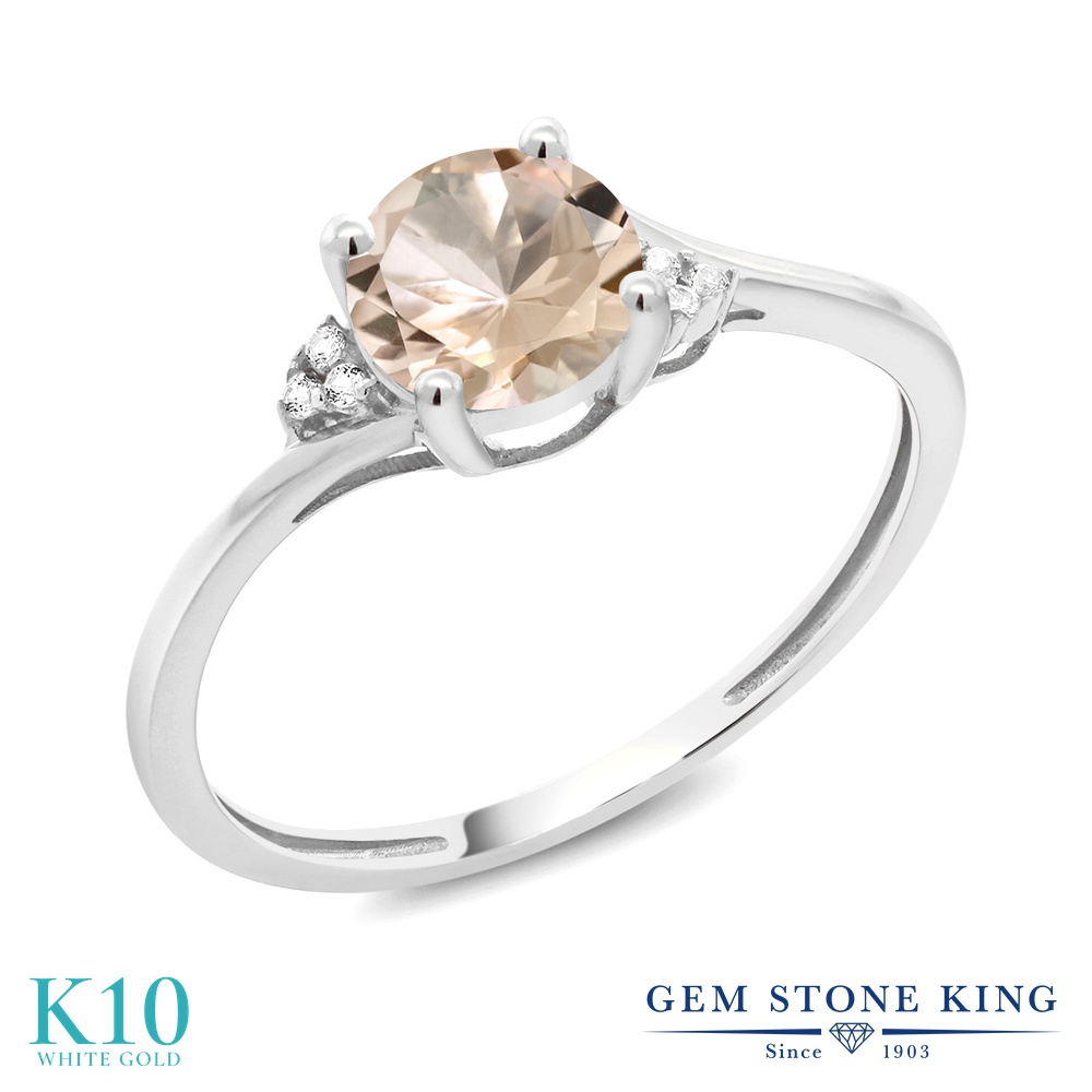 【10%OFF】 Gem Stone King 0.64カラット 天然 モルガナイト (ピーチ) ダイヤモンド 指輪 リング レディース 10金 ホワイトゴールド K10 ソリティア 天然石 3月 誕生石 クリスマスプレゼント 女性 彼女 妻 誕生日