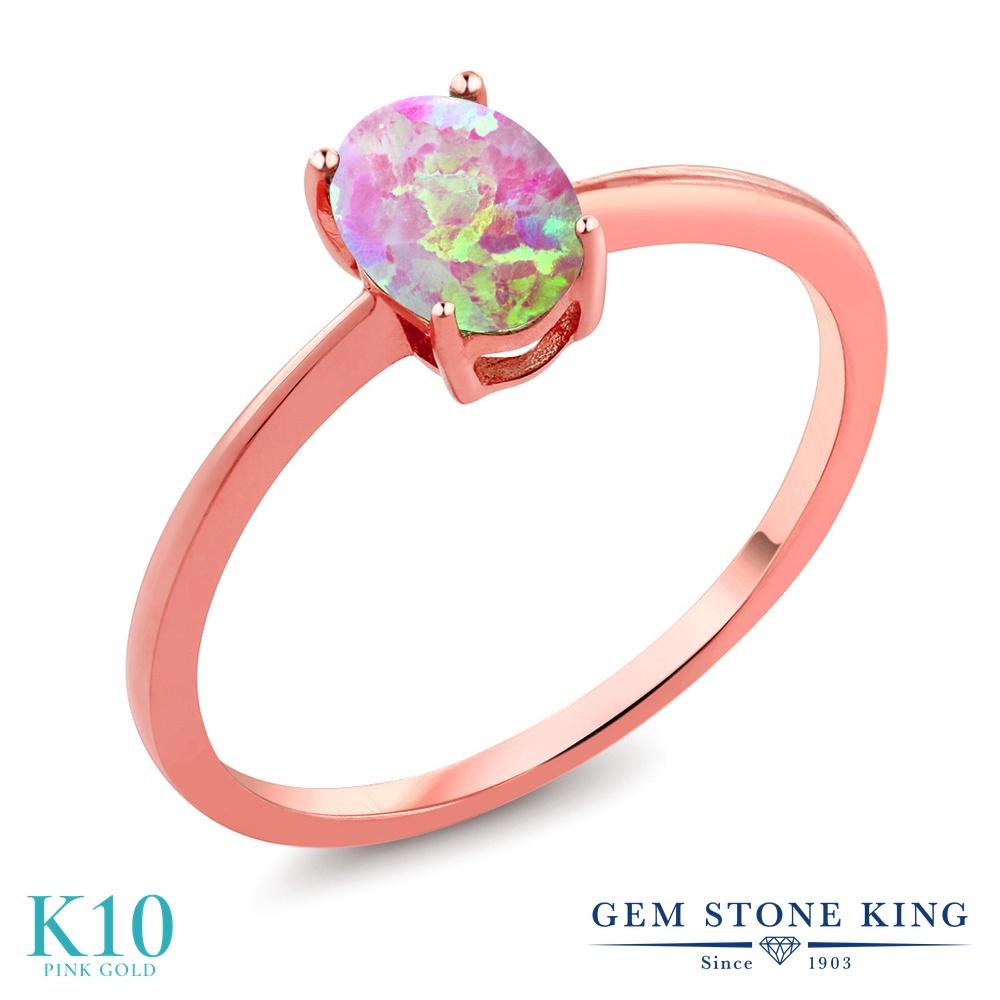 Gem Stone King 0.63カラット シミュレイテッド ピンクオパール 10金 ピンクゴールド(K10) 指輪 リング レディース 一粒 シンプル ソリティア 10月 誕生石 金属アレルギー対応 婚約指輪 エンゲージリング