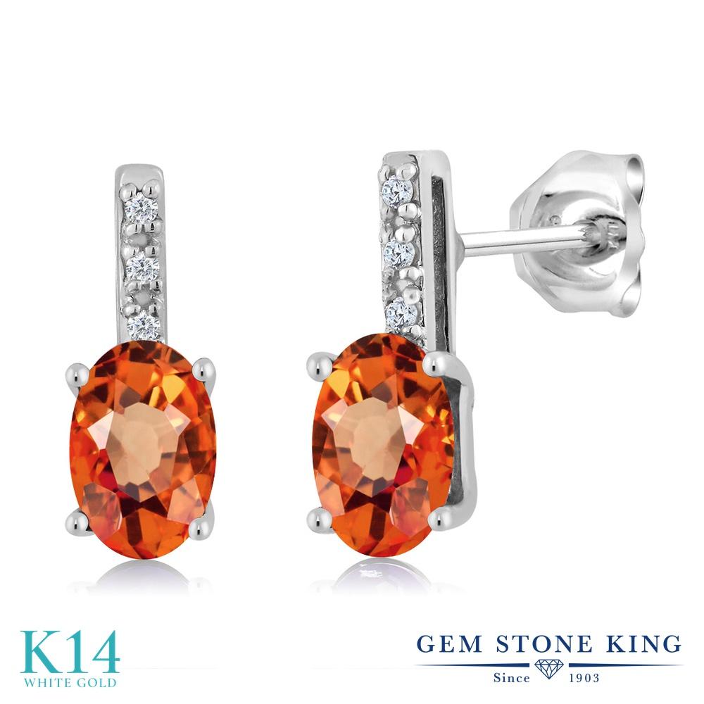 Gem Stone King 1.1カラット 天然 オレンジサファイア 天然 ダイヤモンド 14金 ホワイトゴールド(K14) ピアス レディース スタッド 天然石 9月 誕生石 金属アレルギー対応 誕生日プレゼント
