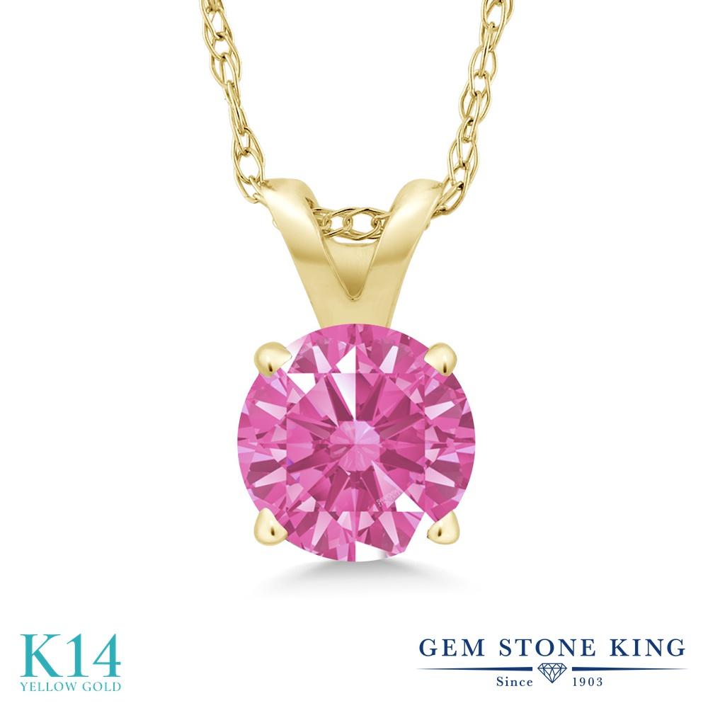 Gem Stone King スワロフスキージルコニア (ピンク) 14金 イエローゴールド(K14) ネックレス ペンダント レディース CZ 一粒 シンプル 金属アレルギー対応 誕生日プレゼント