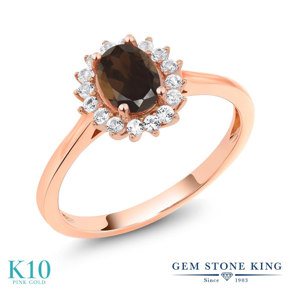 【10%OFF】 Gem Stone King 0.99カラット 天然 スモーキークォーツ (ブラウン) 合成ホワイトサファイア (ダイヤのような無色透明) 指輪 リング レディース 10金 ピンクゴールド K10 クラスター 天然石 クリスマスプレゼント 女性 彼女 妻 誕生日