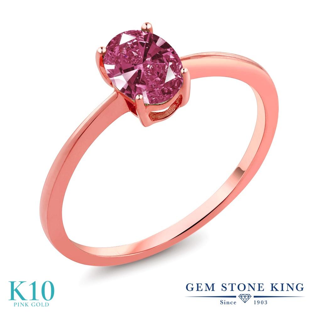 Gem Stone King スワロフスキージルコニア (レッド) 10金 ピンクゴールド(K10) 指輪 リング レディース CZ 一粒 シンプル ソリティア 金属アレルギー対応 誕生日プレゼント
