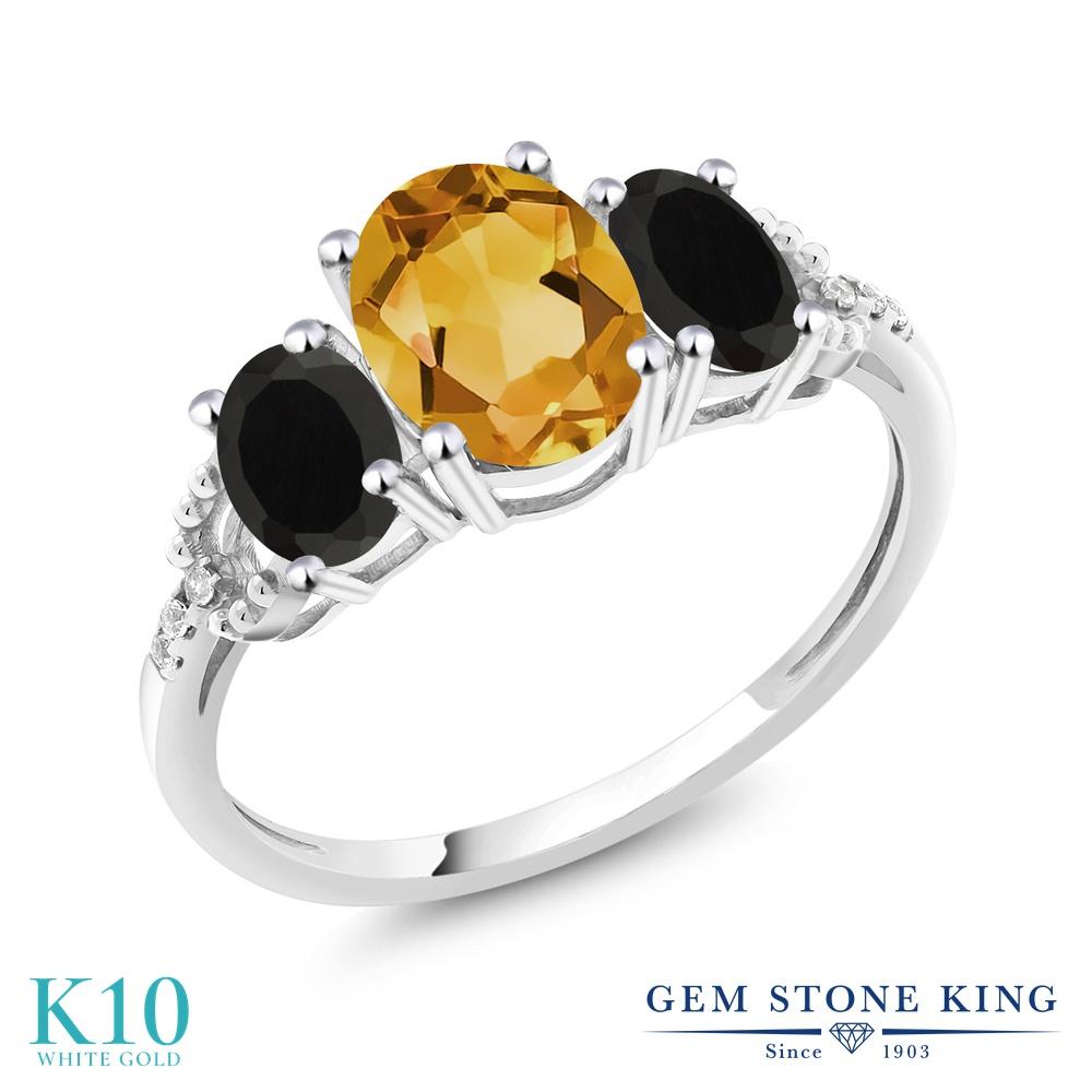 Gem Stone King 2.13カラット 天然 シトリン 天然 オニキス 天然 ダイヤモンド 10金 ホワイトゴールド(K10) 指輪 リング レディース 大粒 スリーストーン 天然石 11月 誕生石 金属アレルギー対応 婚約指輪 エンゲージリング