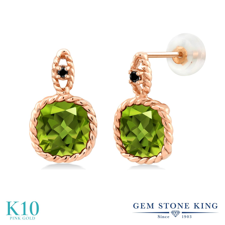 Gem Stone King 4.93カラット 天然石 ペリドット 天然ブラックダイヤモンド 10金 ピンクゴールド(K10) ピアス レディース 大粒 ぶら下がり 天然石 8月 誕生石 金属アレルギー対応 誕生日プレゼント