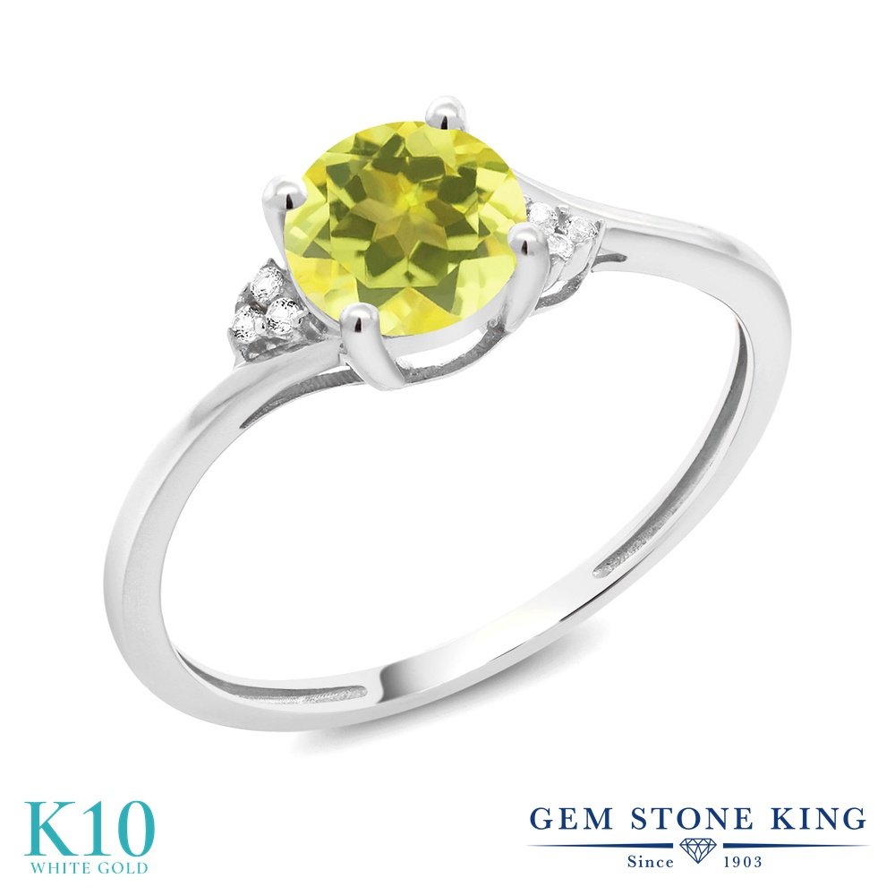 Gem Stone King 1.04カラット 天然石 ミスティックトパーズ(イエロー) 10金 ホワイトゴールド(K10) 天然ダイヤモンド 指輪 リング
