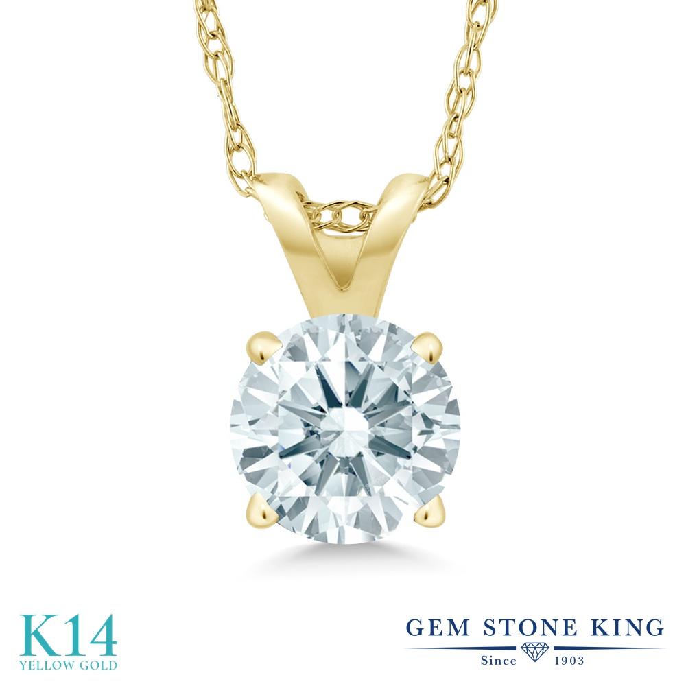 Gem Stone King スワロフスキージルコニア (無色透明) 14金 イエローゴールド(K14) ネックレス ペンダント レディース CZ 一粒 シンプル 金属アレルギー対応 誕生日プレゼント