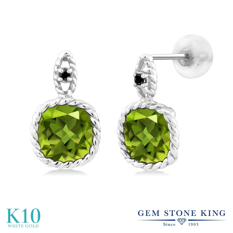 Gem Stone King 4.93カラット 天然石 ペリドット 天然ブラックダイヤモンド 10金 ホワイトゴールド(K10) ピアス レディース 大粒 ぶら下がり 天然石 8月 誕生石 金属アレルギー対応 誕生日プレゼント