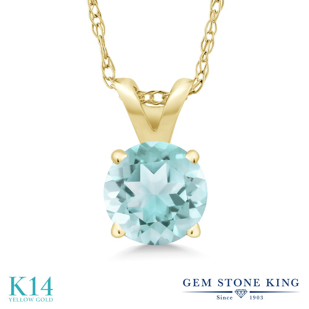 Gem Stone King 0.9カラット 天然 スカイブルートパーズ 14金 イエローゴールド(K14) ネックレス ペンダント レディース 一粒 シンプル 天然石 11月 誕生石 金属アレルギー対応 誕生日プレゼント