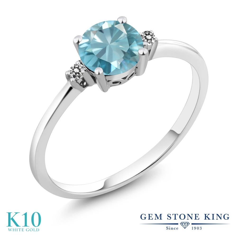 【10%OFF】 Gem Stone King 1.23カラット 天然石 ブルージルコン 天然 ダイヤモンド 指輪 リング レディース 10金 ホワイトゴールド K10 大粒 シンプル ソリティア 12月 誕生石 クリスマスプレゼント 女性 彼女 妻 誕生日