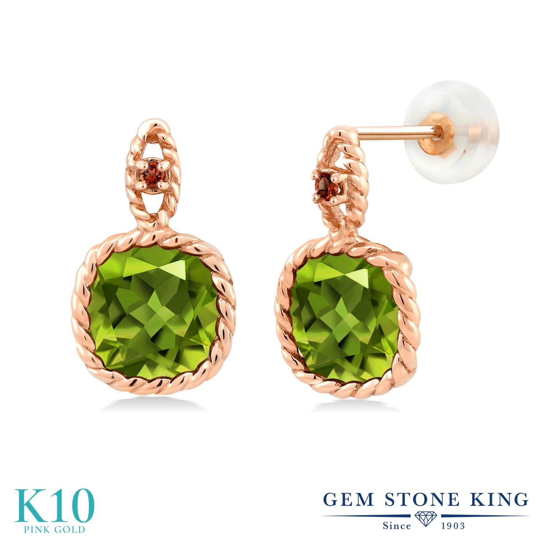 Gem Stone King 4.94カラット 天然石 ペリドット 天然 ガーネット 10金 ピンクゴールド(K10) ピアス レディース 大粒 ぶら下がり 天然石 8月 誕生石 金属アレルギー対応 誕生日プレゼント