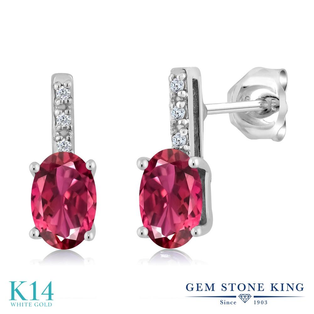 Gem Stone King 1.03カラット 天然 ピンクトルマリン 天然 ダイヤモンド 14金 ホワイトゴールド(K14) ピアス レディース 小粒 スタッド 天然石 10月 誕生石 金属アレルギー対応 誕生日プレゼント