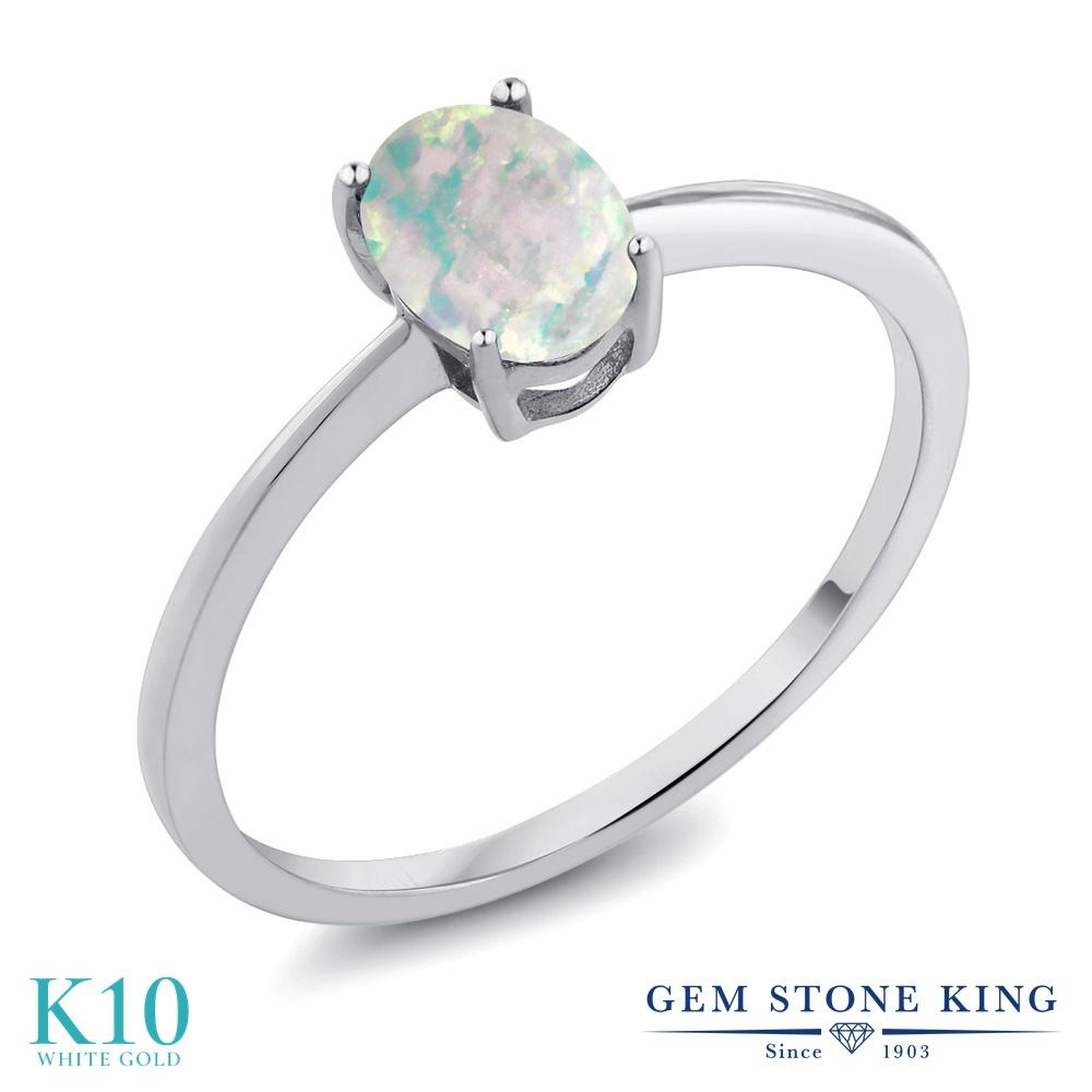 Gem Stone King 0.63カラット シミュレイテッド ホワイトオパール 10金 ホワイトゴールド(K10) 指輪 リング レディース 一粒 シンプル ソリティア 10月 誕生石 金属アレルギー対応 誕生日プレゼント