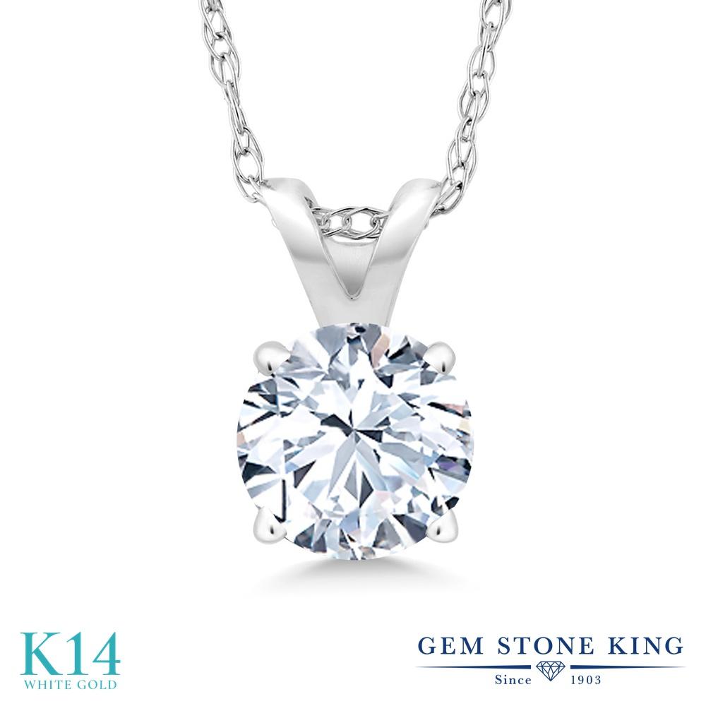 Gem Stone King 1.2カラット 合成ホワイトサファイア (ダイヤのような無色透明) 14金 ホワイトゴールド(K14) ネックレス ペンダント レディース 大粒 一粒 シンプル 金属アレルギー対応 誕生日プレゼント