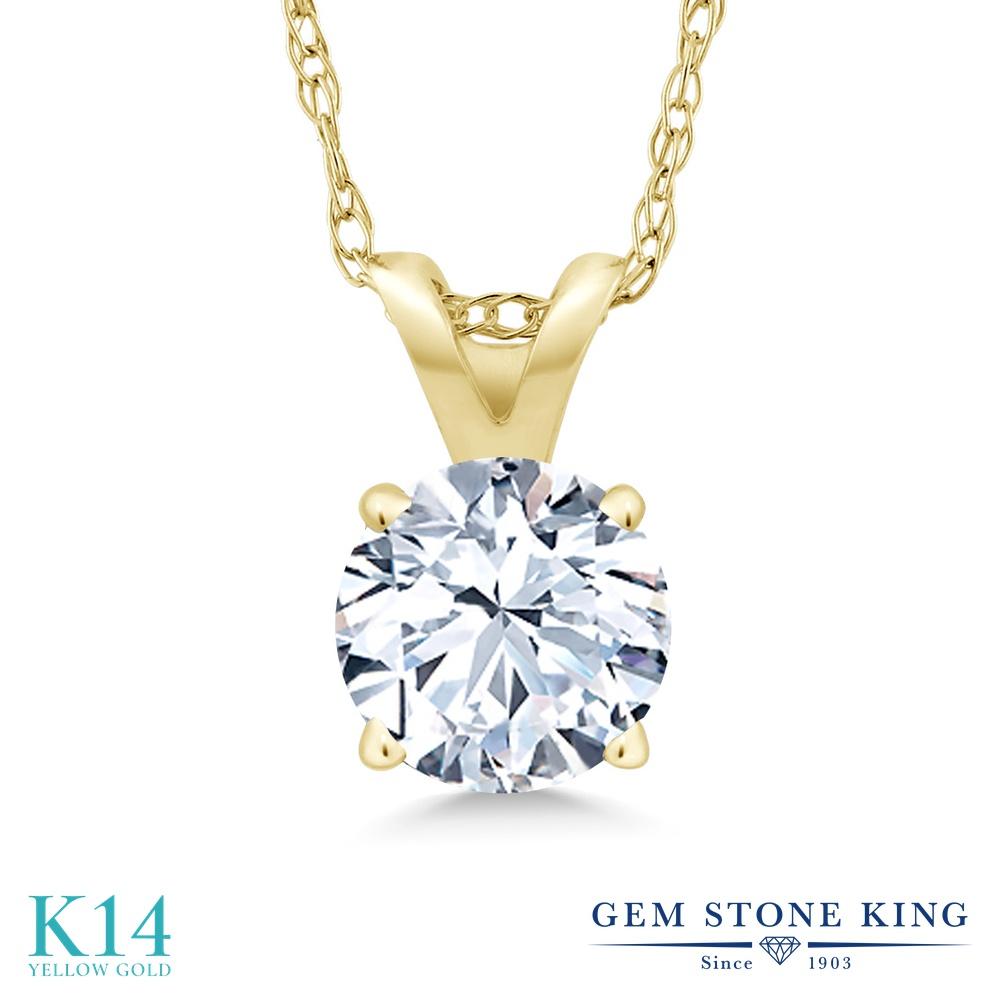 Gem Stone King 1.2カラット 合成ホワイトサファイア (ダイヤのような無色透明) 14金 イエローゴールド(K14) ネックレス ペンダント レディース 大粒 一粒 シンプル 金属アレルギー対応 誕生日プレゼント