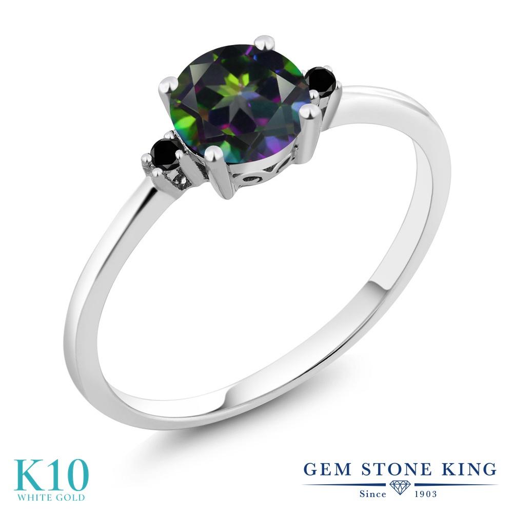 Gem Stone King 1.03カラット 天然石 ミスティックトパーズ (グリーン) 天然ブラックダイヤモンド 10金 ホワイトゴールド(K10) 指輪 リング レディース 大粒 一粒 シンプル ソリティア 天然石 金属アレルギー対応 婚約指輪 エンゲージリング