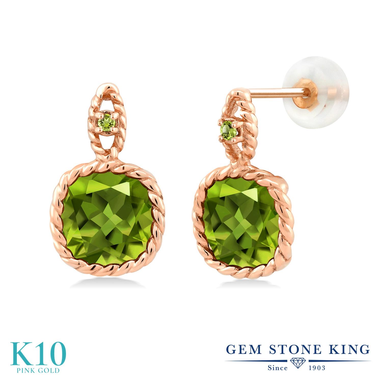 Gem Stone King 4.94カラット 天然石 ペリドット 10金 ピンクゴールド(K10) ピアス レディース 大粒 ぶら下がり 天然石 8月 誕生石 金属アレルギー対応 誕生日プレゼント
