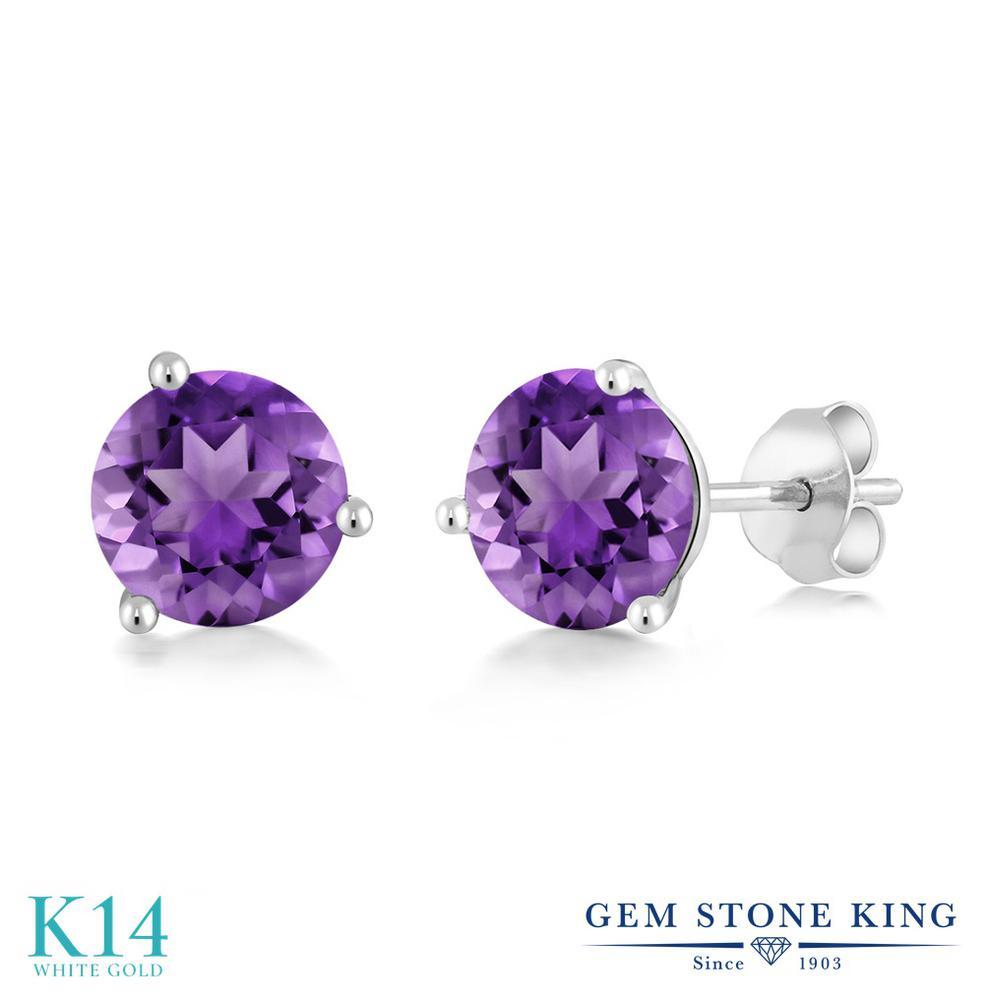 Gem Stone King 1.4カラット 天然 アメジスト 14金 ホワイトゴールド(K14) ピアス レディース シンプル スタッド 天然石 2月 誕生石 金属アレルギー対応 誕生日プレゼント