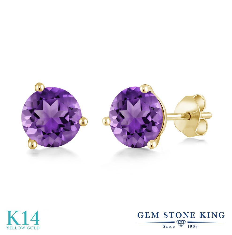 Gem Stone King 1.4カラット 天然 アメジスト 14金 イエローゴールド(K14) ピアス レディース シンプル スタッド 天然石 2月 誕生石 金属アレルギー対応 誕生日プレゼント