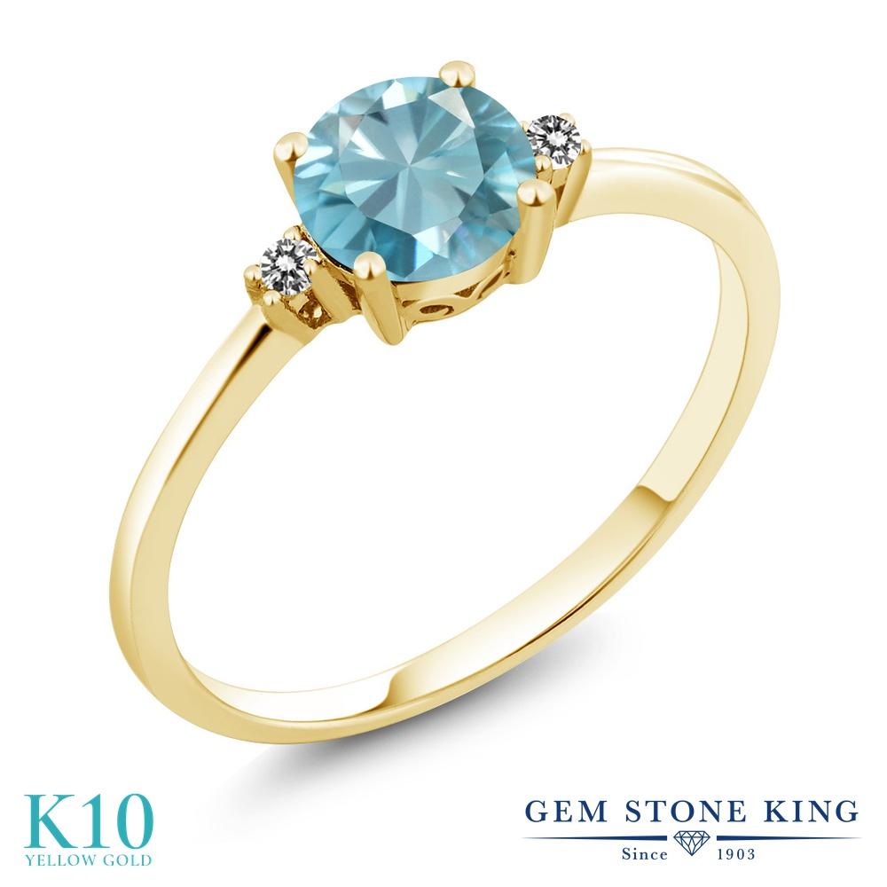 【10%OFF】 Gem Stone King 1.23カラット 天然石 ブルージルコン 天然 ダイヤモンド 指輪 リング レディース 10金 イエローゴールド K10 大粒 シンプル ソリティア 12月 誕生石 クリスマスプレゼント 女性 彼女 妻 誕生日