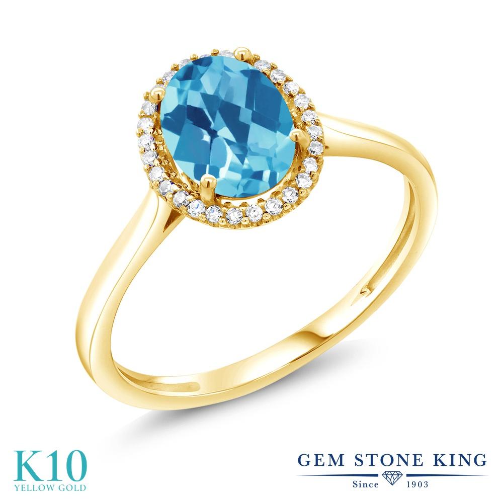 Gem Stone King 1.3カラット 天然トパーズ(スイスブルー) 10金 イエローゴールド(K10) 天然ダイヤモンド 指輪 リング レディース 大粒 天然石 誕生石 誕生日プレゼント