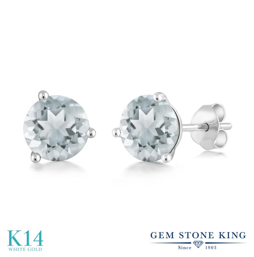 Gem Stone King 1.5カラット 天然 アクアマリン 14金 ホワイトゴールド(K14) ピアス レディース シンプル スタッド 天然石 3月 誕生石 金属アレルギー対応 誕生日プレゼント