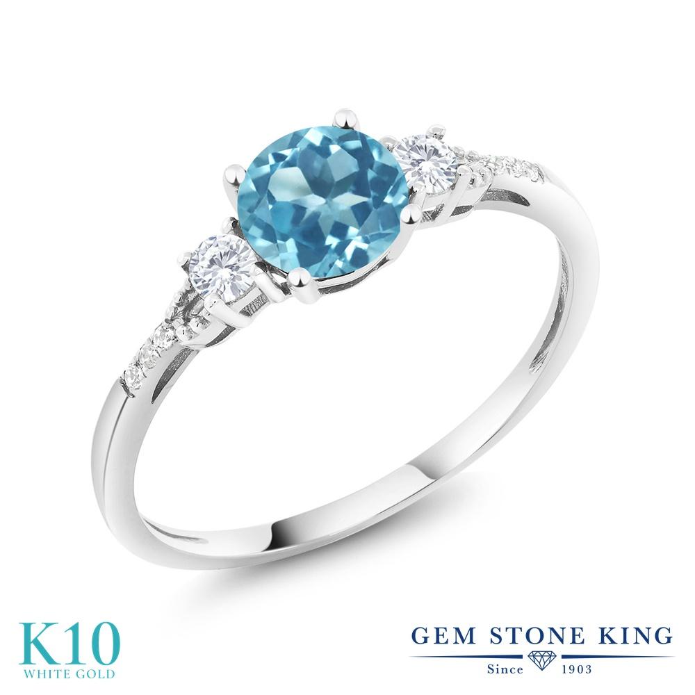 Gem Stone King 1.05カラット 天然 スイスブルートパーズ 合成ホワイトサファイア (ダイヤのような無色透明) 天然 ダイヤモンド 10金 ホワイトゴールド(K10) 指輪 リング レディース マルチストーン 天然石 11月 誕生石 金属アレルギー対応 誕生日プレゼント