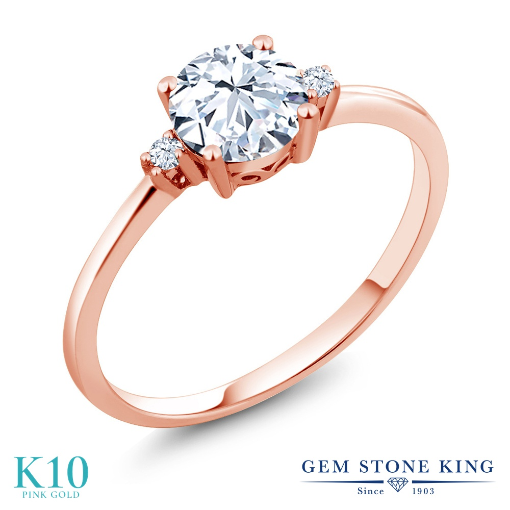 Gem Stone King 1.23カラット 合成ホワイトサファイア (ダイヤのような無色透明) 10金 ピンクゴールド(K10) 指輪 リング レディース 大粒 シンプル ソリティア 金属アレルギー対応 誕生日プレゼント