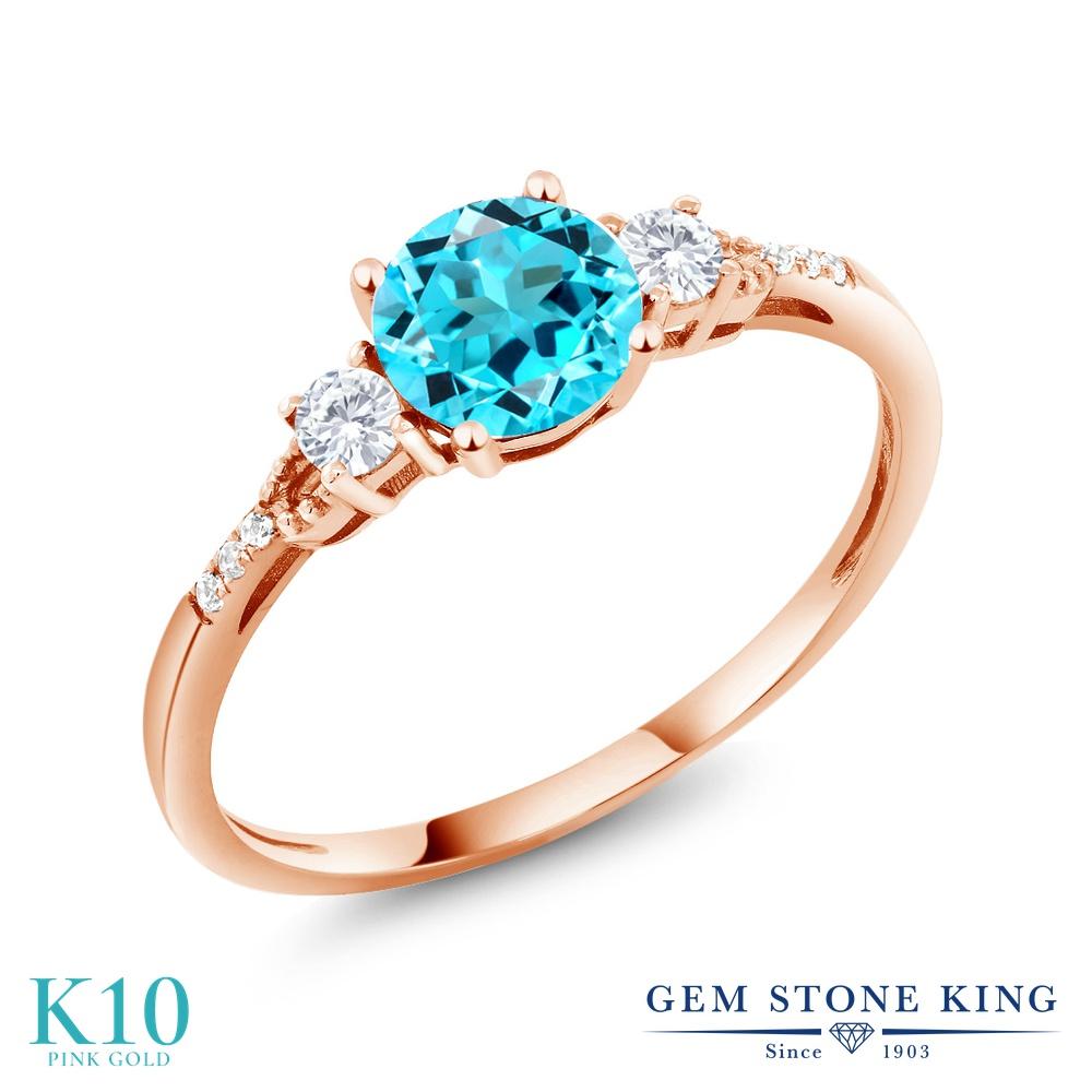 Gem Stone King 1.04カラット 天然 スイスブルートパーズ 合成ホワイトサファイア (ダイヤのような無色透明) 天然 ダイヤモンド 10金 ピンクゴールド(K10) 指輪 リング レディース マルチストーン 天然石 11月 誕生石 金属アレルギー対応 誕生日プレゼント