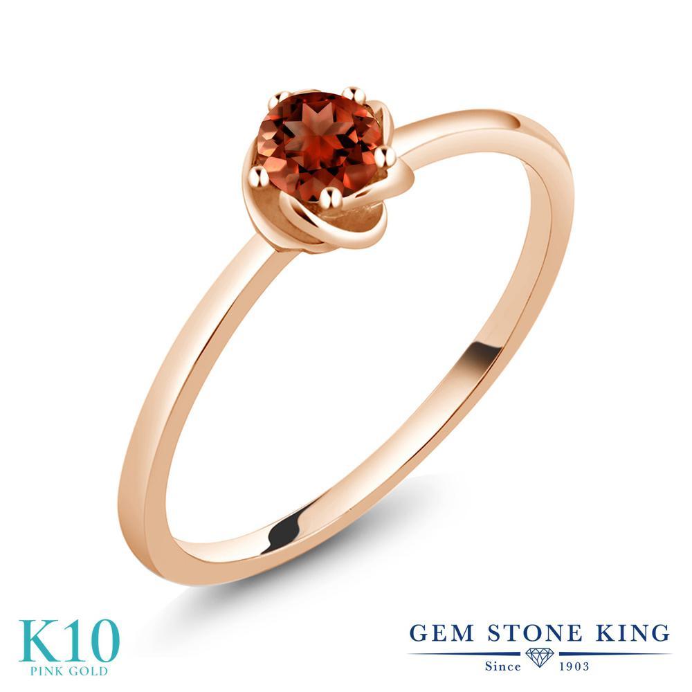 Gem Stone King 0.2カラット 天然 ガーネット 10金 ピンクゴールド(K10) 指輪 リング レディース 小粒 一粒 シンプル ソリティア 華奢 細身 天然石 1月 誕生石 金属アレルギー対応 誕生日プレゼント