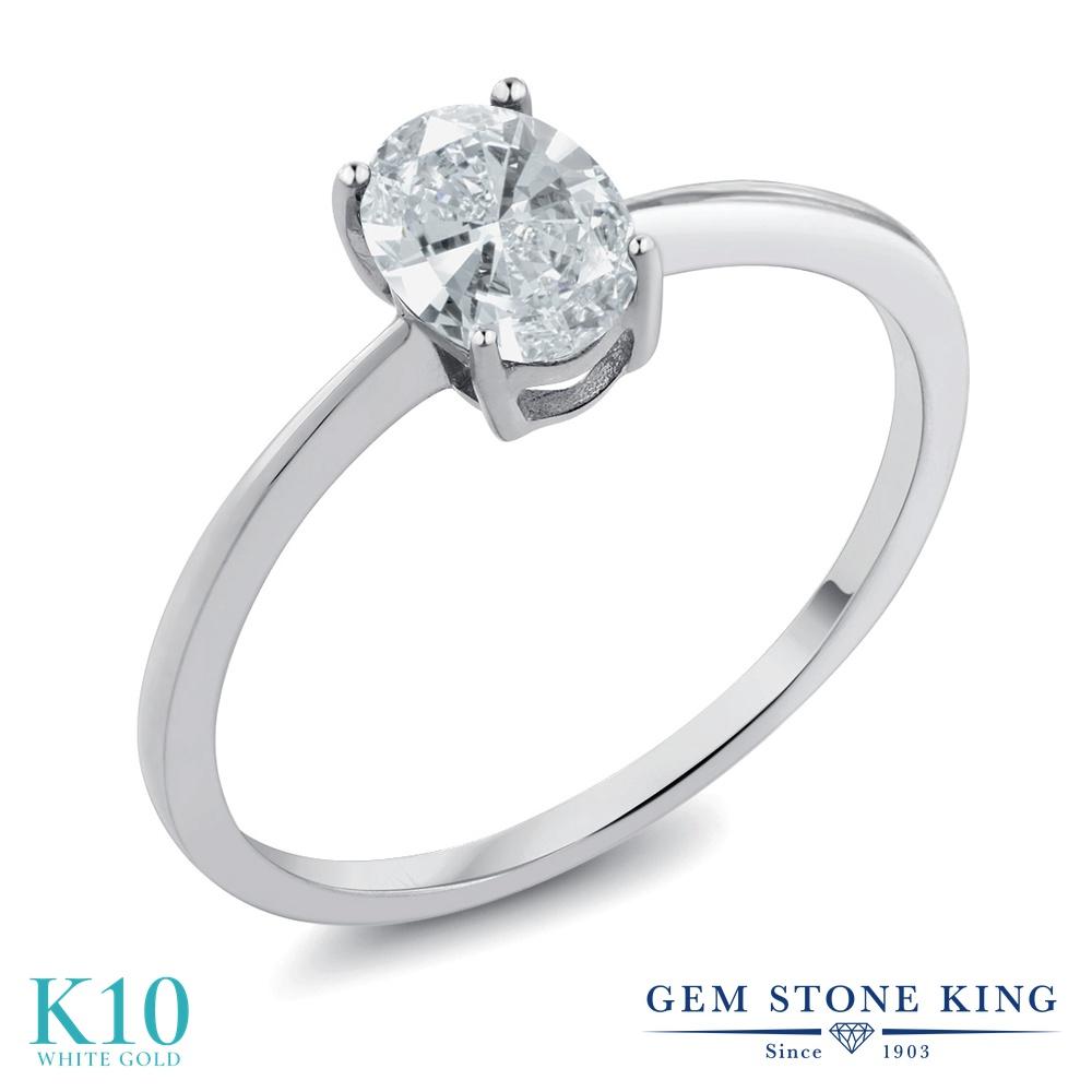 スワロフスキージルコニア 指輪 レディース リング 10金 ホワイトゴールド K10 ブランド おしゃれ 一粒 CZ 白 シンプル 細身 ソリティア プレゼント 女性 彼女 妻 誕生日