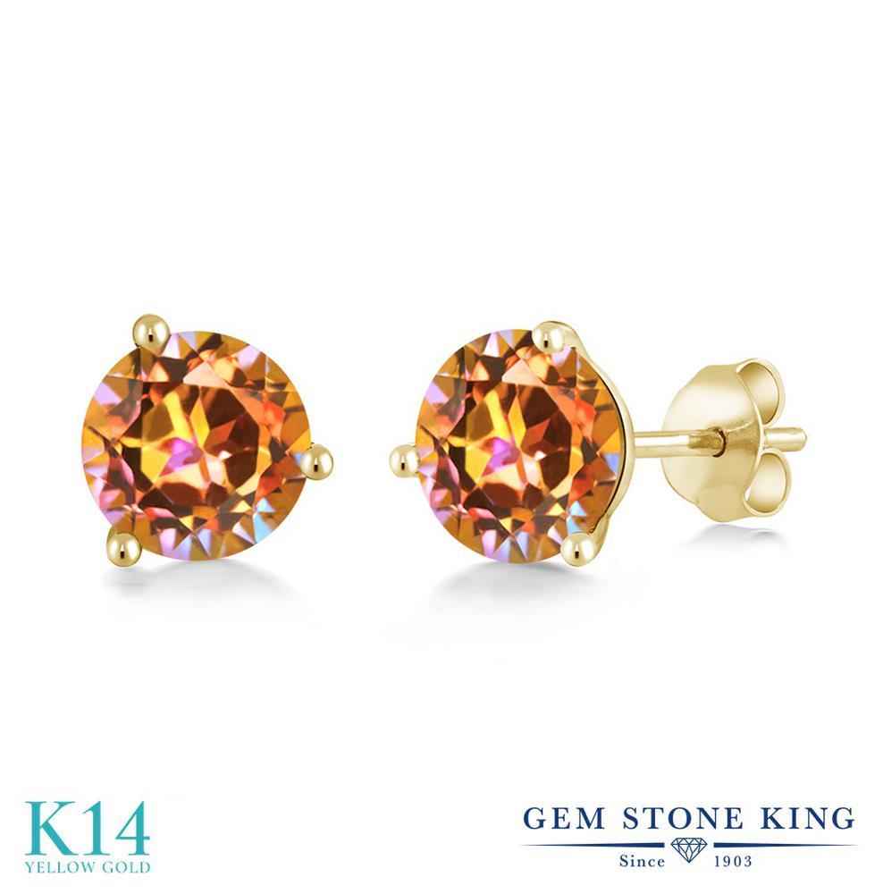 Gem Stone King 2カラット 天然石 エクスタシーミスティックトパーズ 14金 イエローゴールド(K14) ピアス レディース 大粒 シンプル スタッド 天然石 金属アレルギー対応 誕生日プレゼント