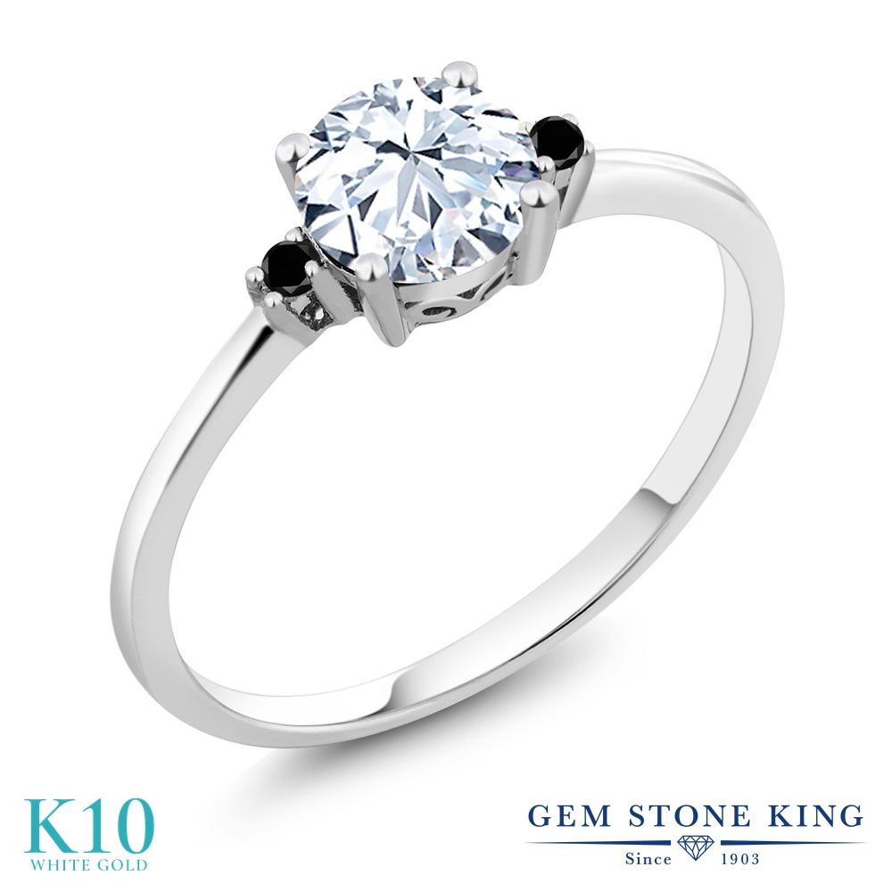 Gem Stone King 1.23カラット 合成ホワイトサファイア (ダイヤのような無色透明) 天然ブラックダイヤモンド 10金 ホワイトゴールド(K10) 指輪 リング レディース 大粒 一粒 シンプル ソリティア 金属アレルギー対応 婚約指輪 エンゲージリング