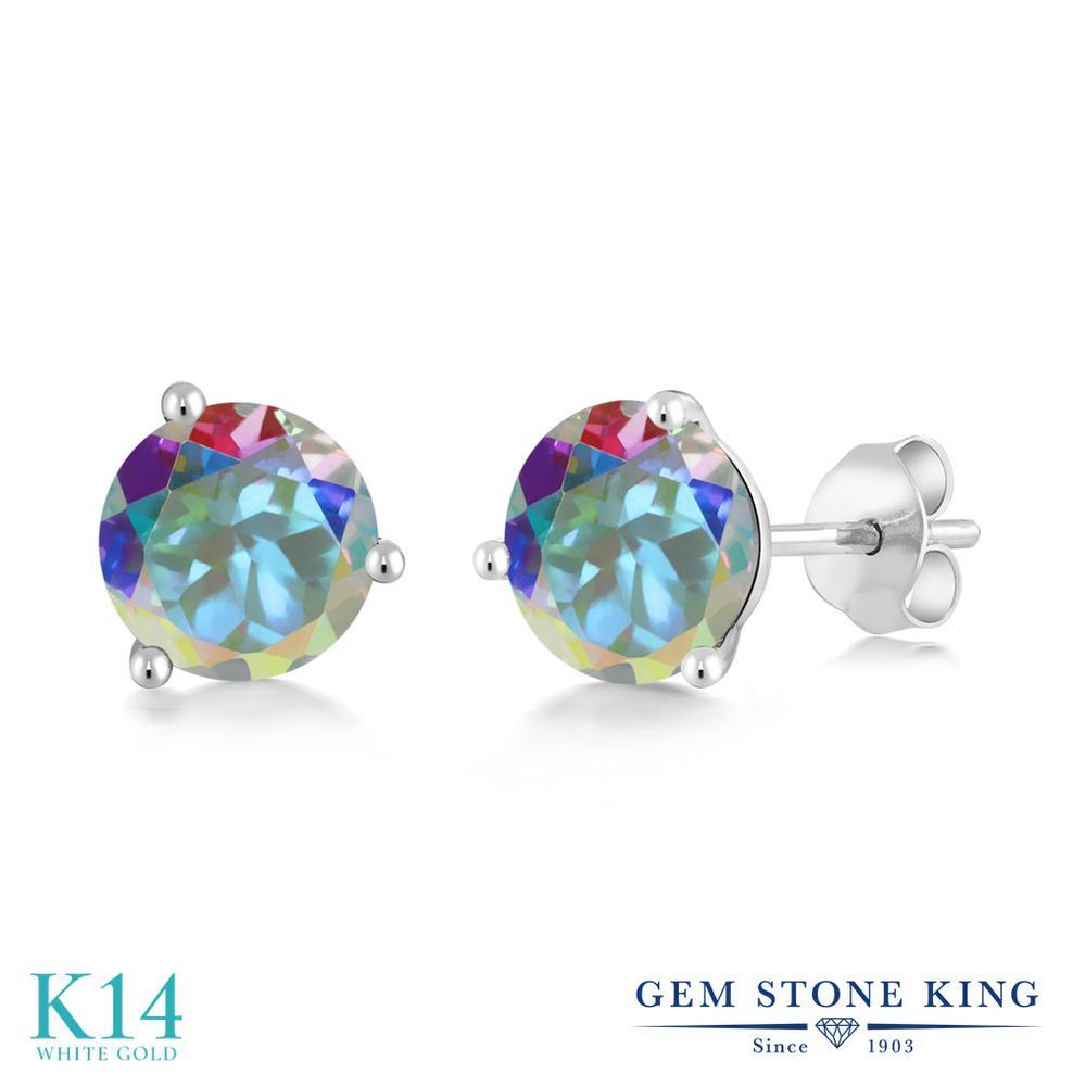 Gem Stone King 2カラット 天然石 ミスティックトパーズ (マーキュリーミスト) 14金 ホワイトゴールド(K14) ピアス レディース 大粒 シンプル スタッド 天然石 金属アレルギー対応 誕生日プレゼント