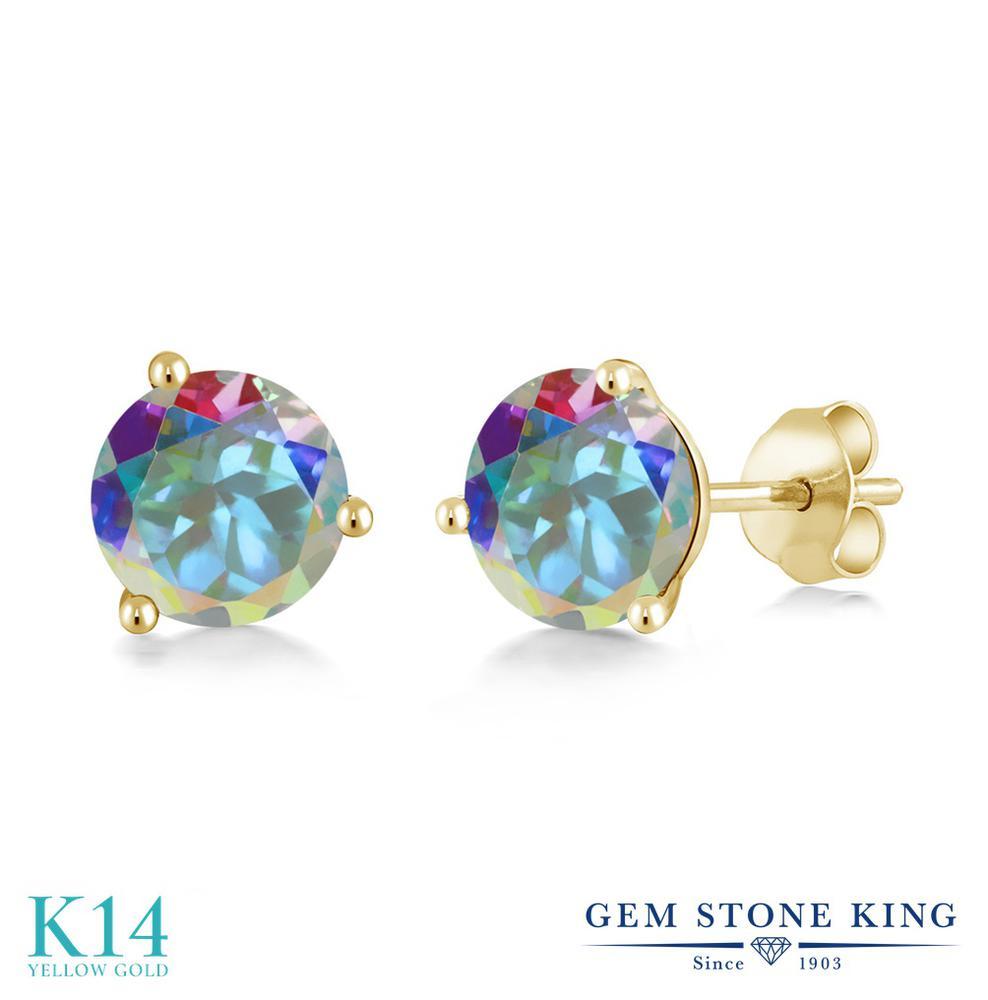 Gem Stone King 2カラット 天然石 ミスティックトパーズ (マーキュリーミスト) 14金 イエローゴールド(K14) ピアス レディース 大粒 シンプル スタッド 天然石 金属アレルギー対応 誕生日プレゼント