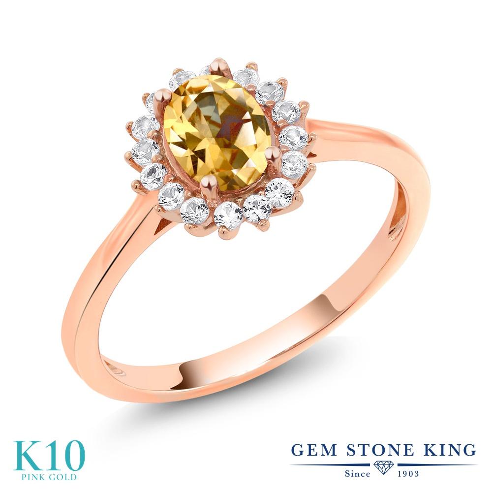 Gem Stone King 1.24カラット 天然石 トパーズ ハニースワロフスキー 合成ホワイトサファイア (ダイヤのような無色透明) 10金 ピンクゴールド(K10) 指輪 リング レディース 大粒 クラスター 天然石 金属アレルギー対応 誕生日プレゼント