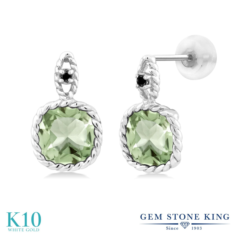 Gem Stone King 4.13カラット 天然 プラジオライト (グリーンアメジスト) 天然ブラックダイヤモンド 10金 ホワイトゴールド(K10) ピアス レディース 大粒 ぶら下がり 天然石 金属アレルギー対応 誕生日プレゼント