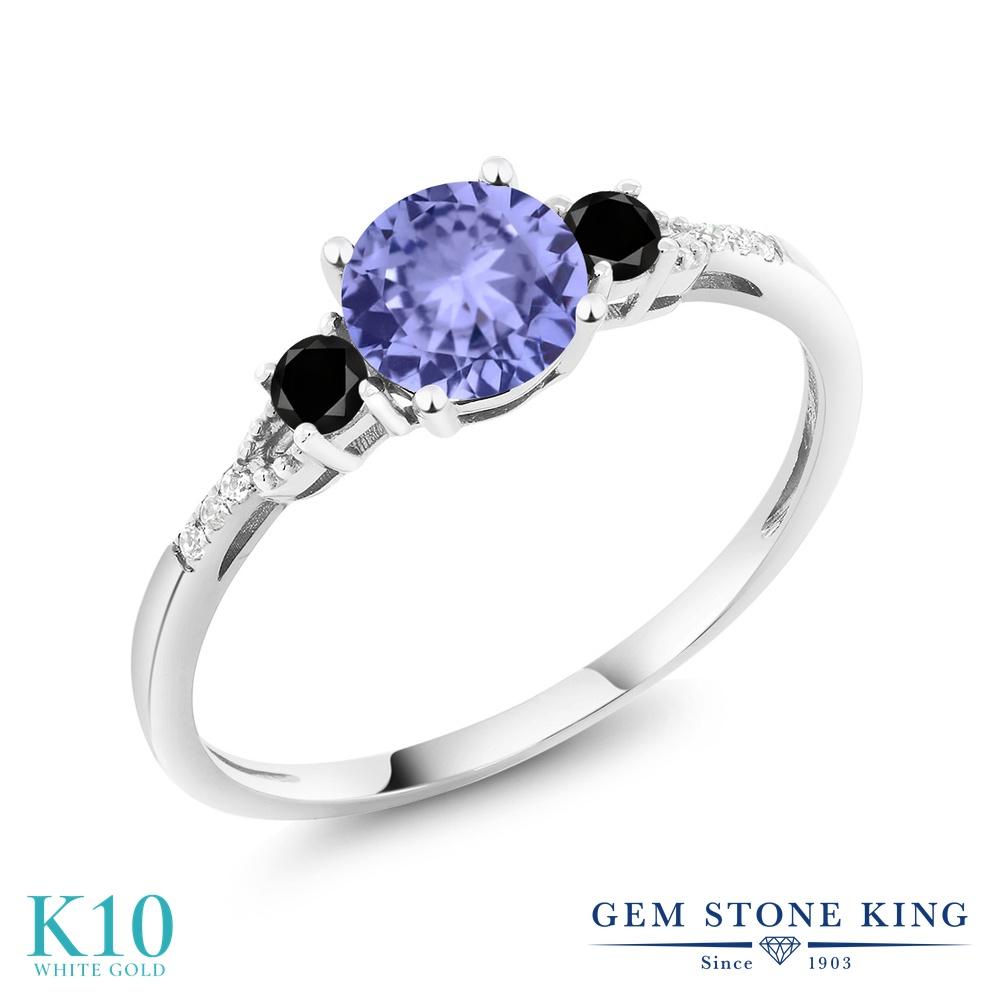 Gem Stone King 1.08カラット 天然石 タンザナイト 天然ブラックダイヤモンド 10金 ホワイトゴールド(K10) 指輪 リング レディース マルチストーン 天然石 12月 誕生石 金属アレルギー対応 誕生日プレゼント