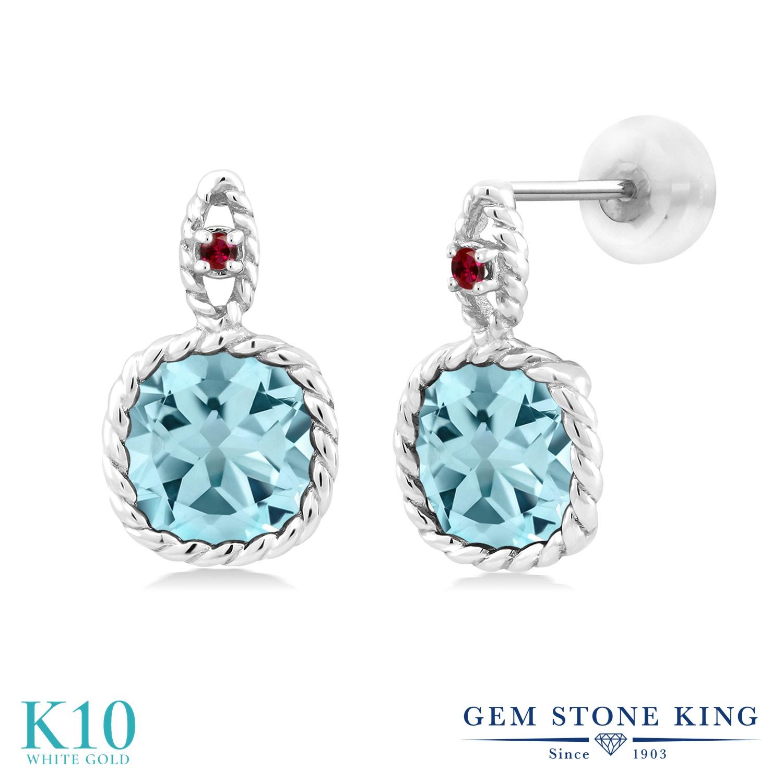 Gem Stone King 5.51カラット 天然トパーズ(スカイブルー) 合成ルビー 10金 ホワイトゴールド(K10) ピアス レディース 大粒 ぶら下がり 天然石 誕生石 金属アレルギー対応 誕生日プレゼント