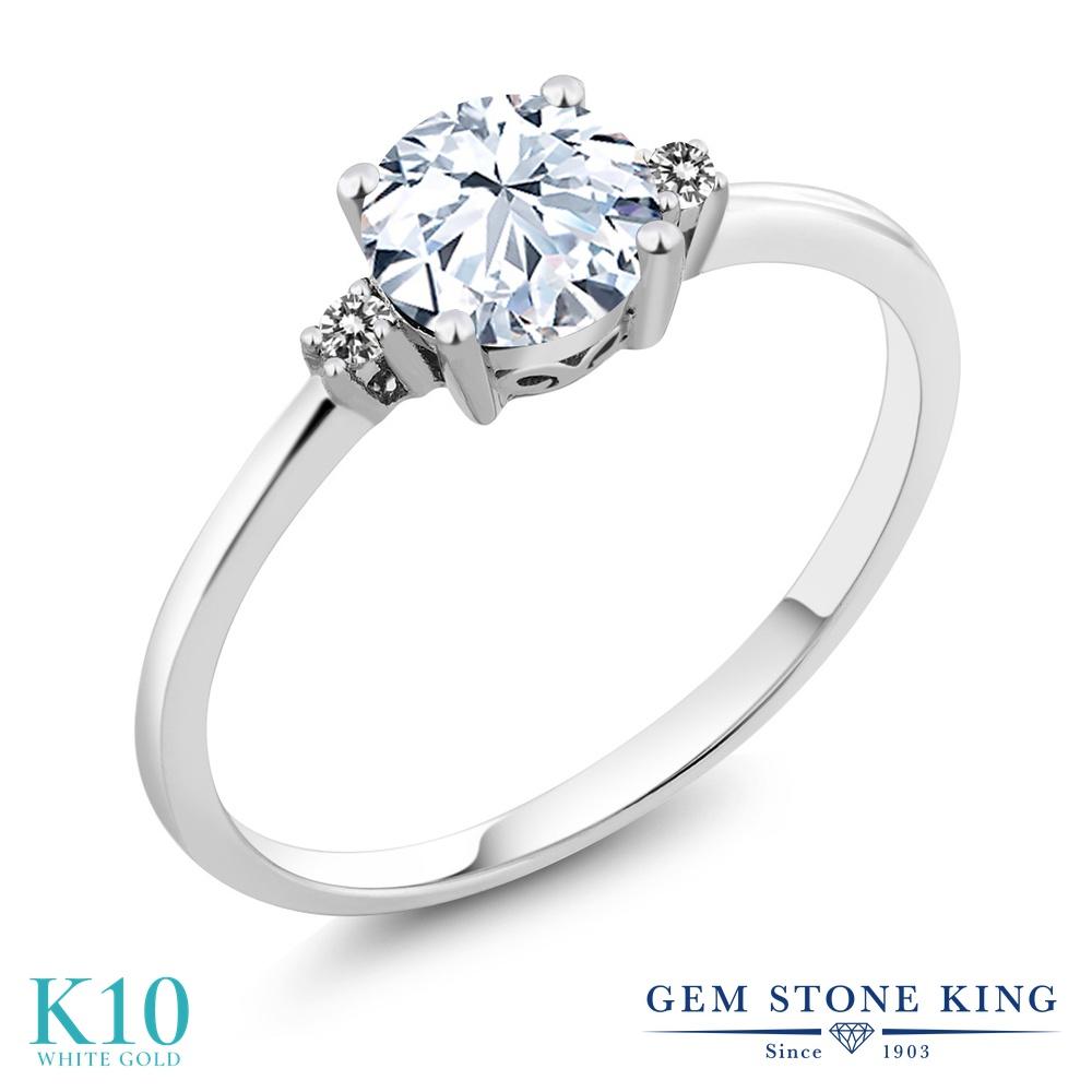 Gem Stone King 1.23カラット 合成ホワイトサファイア (ダイヤのような無色透明) 天然 ダイヤモンド 10金 ホワイトゴールド(K10) 指輪 リング レディース 大粒 一粒 シンプル ソリティア 金属アレルギー対応 婚約指輪 エンゲージリング
