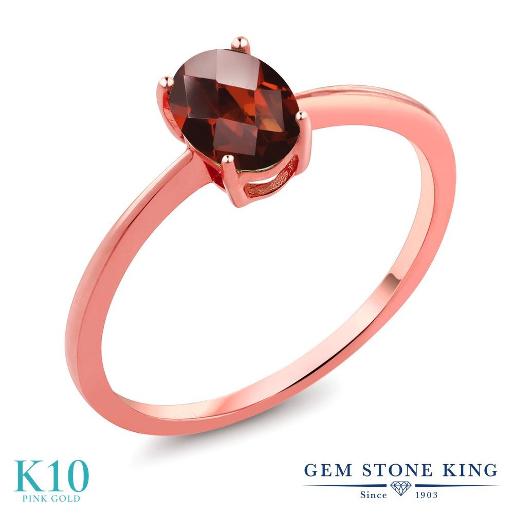 Gem Stone King 0.8カラット 天然 ガーネット 10金 ピンクゴールド(K10) 指輪 リング レディース 一粒 シンプル ソリティア 天然石 1月 誕生石 金属アレルギー対応 誕生日プレゼント
