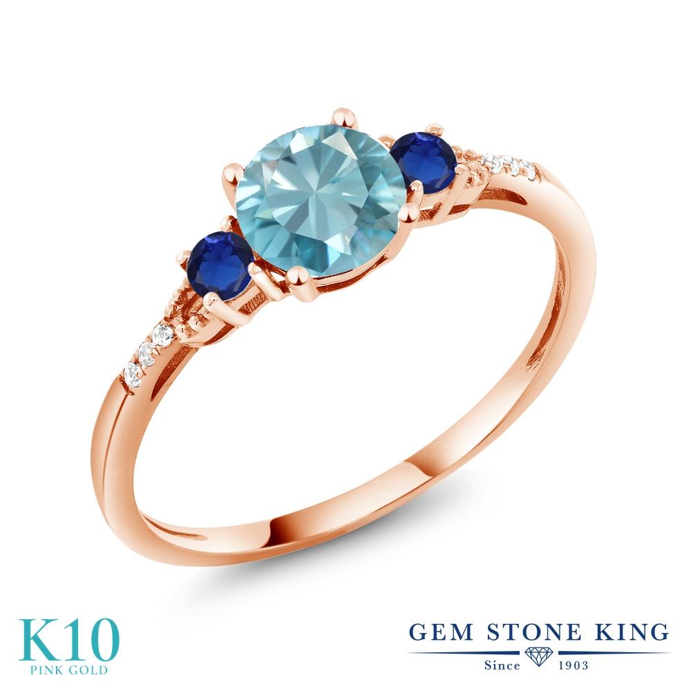 【10%OFF】 Gem Stone King 1.4カラット 天然石 ブルージルコン 天然 ダイヤモンド 指輪 リング レディース 10金 ピンクゴールド K10 大粒 マルチストーン 12月 誕生石 クリスマスプレゼント 女性 彼女 妻 誕生日