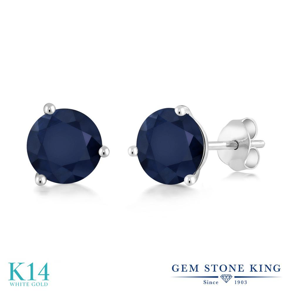 Gem Stone King 2カラット 天然 サファイア 14金 ホワイトゴールド(K14) ピアス レディース 大粒 シンプル スタッド 天然石 9月 誕生石 金属アレルギー対応 誕生日プレゼント