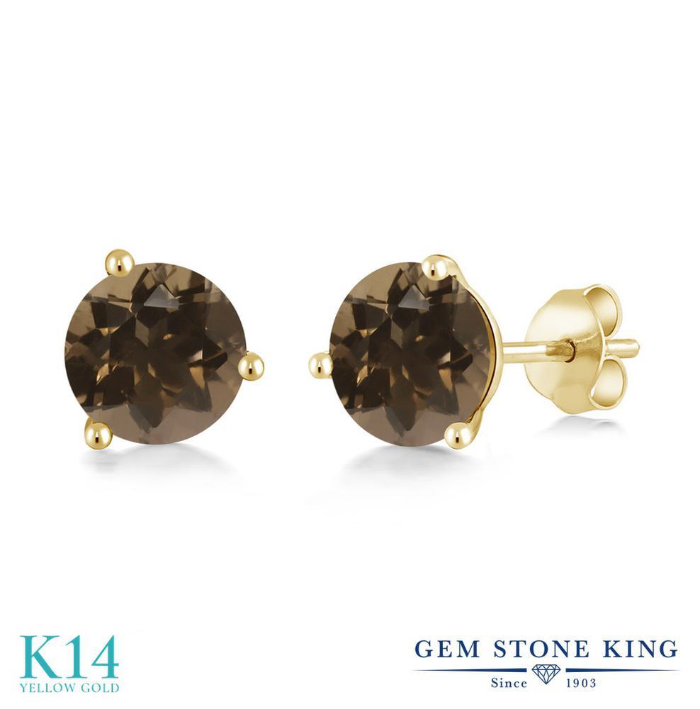 Gem Stone King 1.6カラット 天然 スモーキークォーツ (ブラウン) 14金 イエローゴールド(K14) ピアス レディース シンプル スタッド 天然石 金属アレルギー対応 誕生日プレゼント