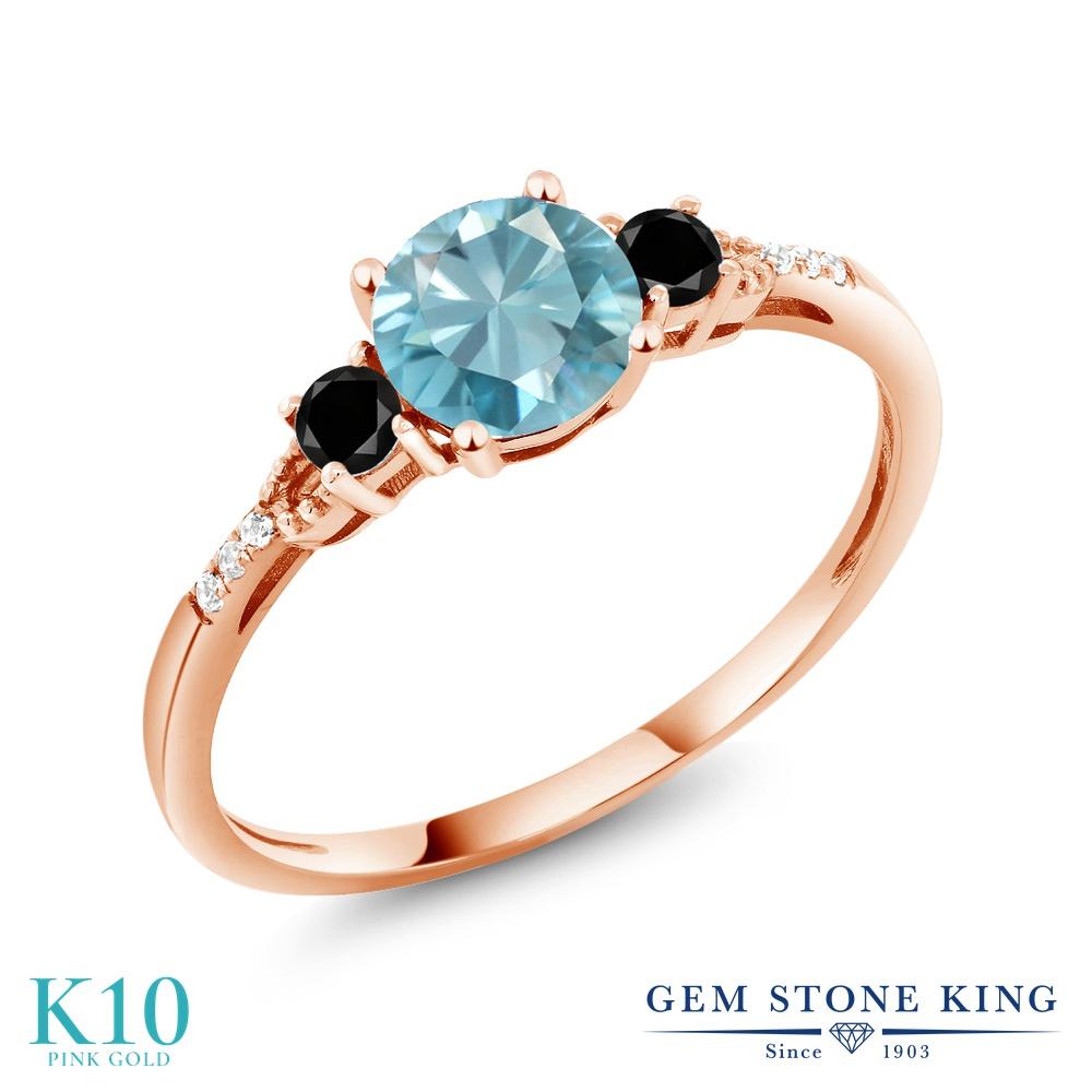 Gem Stone King 1.37カラット 天然石 ブルージルコン 天然ブラックダイヤモンド 10金 ピンクゴールド(K10) 指輪 リング レディース 大粒 マルチストーン 天然石 12月 誕生石 金属アレルギー対応 誕生日プレゼント