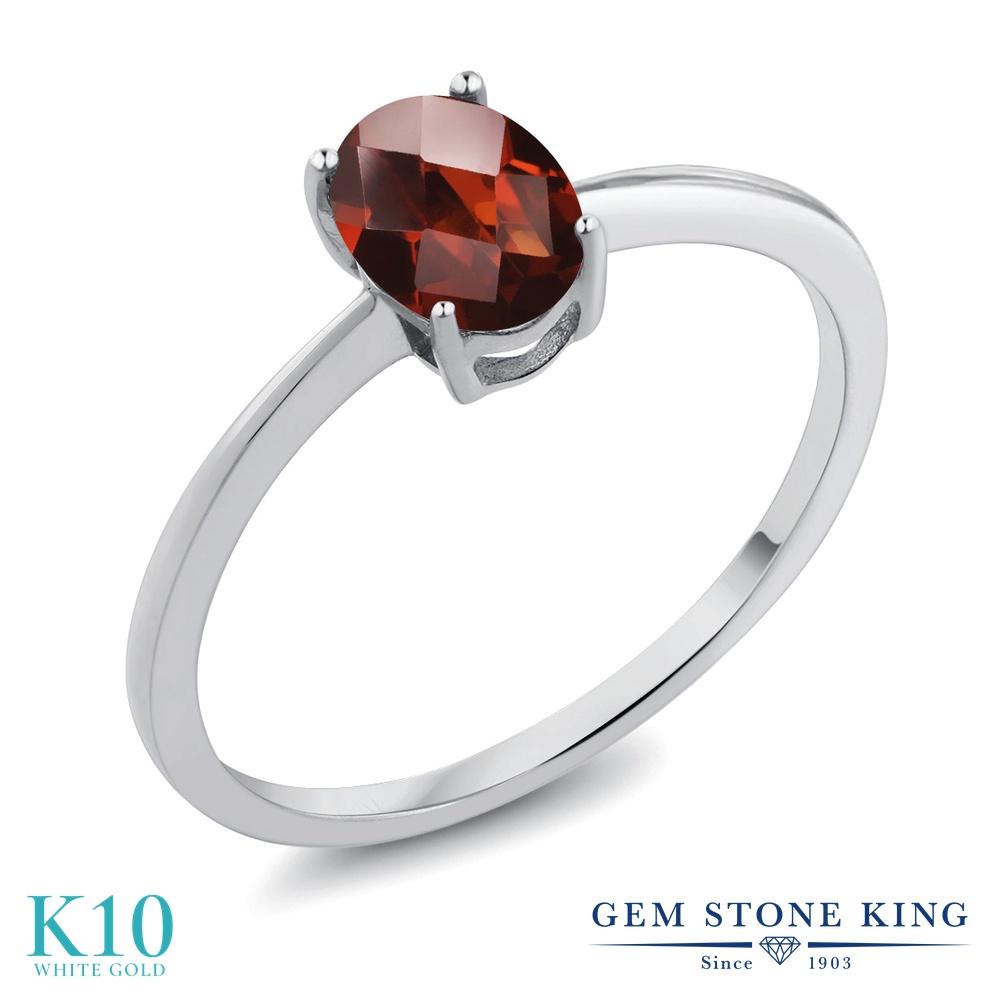 Gem Stone King 0.8カラット 天然 ガーネット 10金 ホワイトゴールド(K10) 指輪 リング レディース 一粒 シンプル ソリティア 天然石 1月 誕生石 金属アレルギー対応 誕生日プレゼント