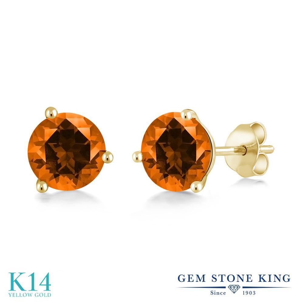 Gem Stone King 2カラット 天然石 トパーズ ポピー (スワロフスキー 天然石シリーズ) 14金 イエローゴールド(K14) ピアス レディース 大粒 シンプル スタッド 天然石 金属アレルギー対応 誕生日プレゼント