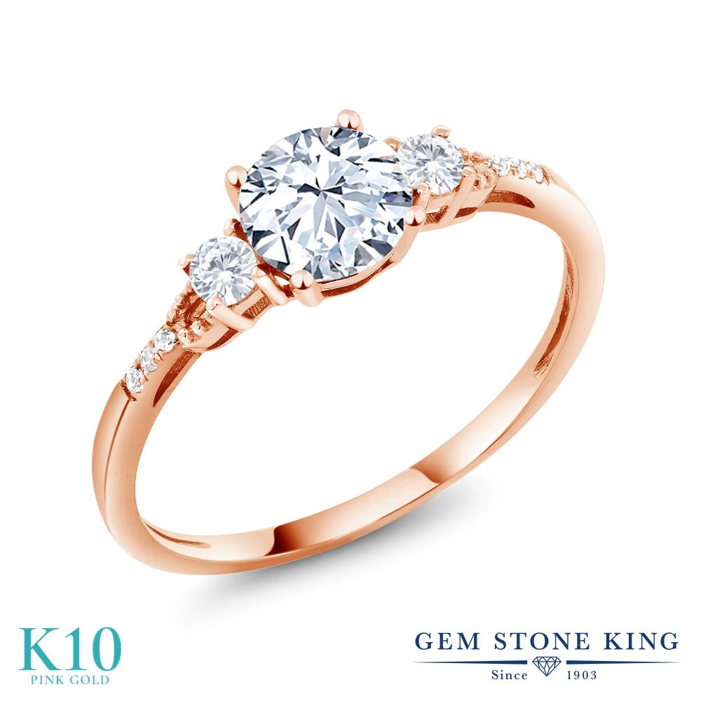 Gem Stone King 1.34カラット 合成ホワイトサファイア (ダイヤのような無色透明) 天然 ダイヤモンド 10金 ピンクゴールド(K10) 指輪 リング レディース 大粒 マルチストーン 金属アレルギー対応 誕生日プレゼント