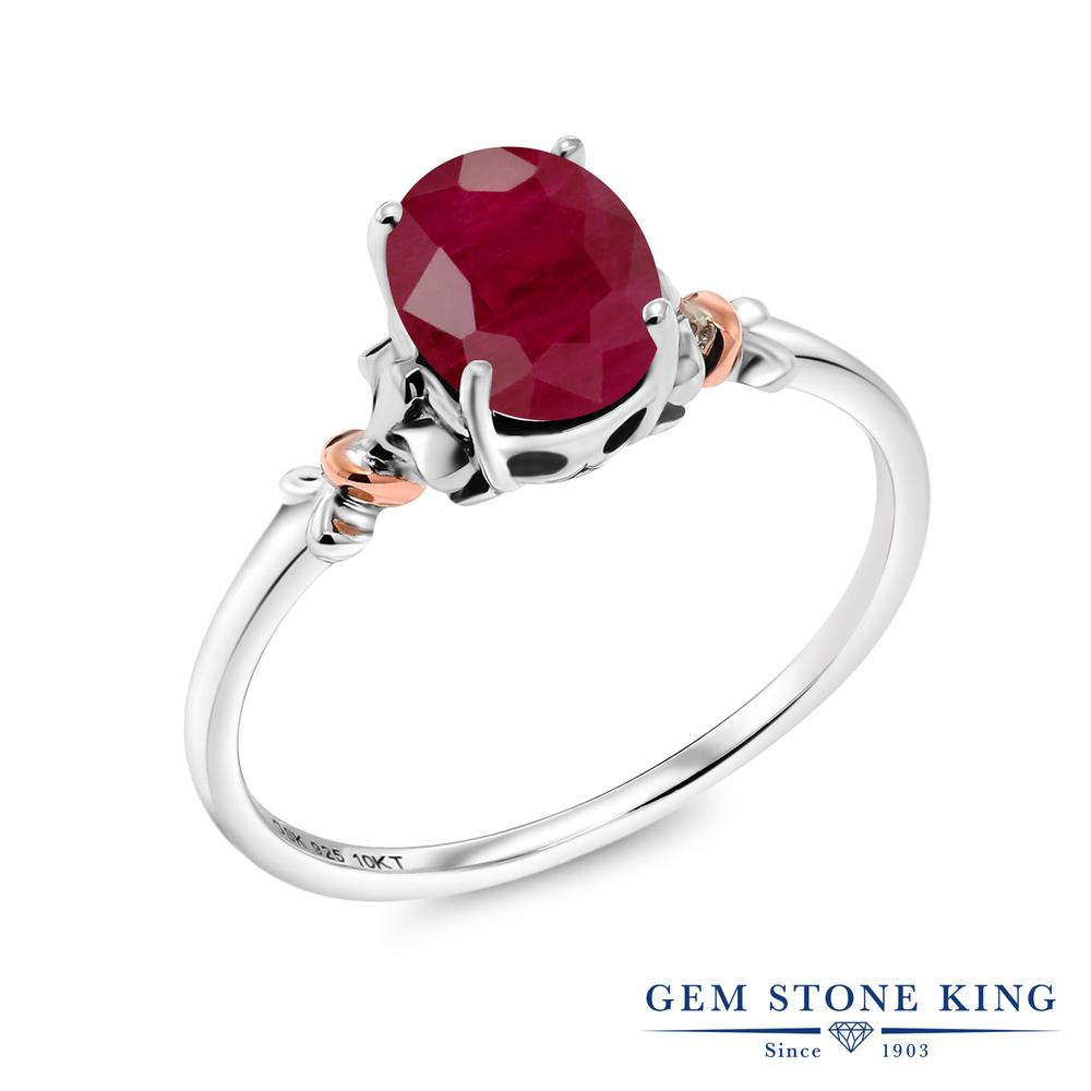 Gem Stone King 1.02カラット 天然 ルビー シルバー925 &10金 ピンクゴールド (K10) 指輪 リング レディース 大粒 一粒 シンプル ソリティア 天然石 7月 誕生石 金属アレルギー対応 誕生日プレゼント